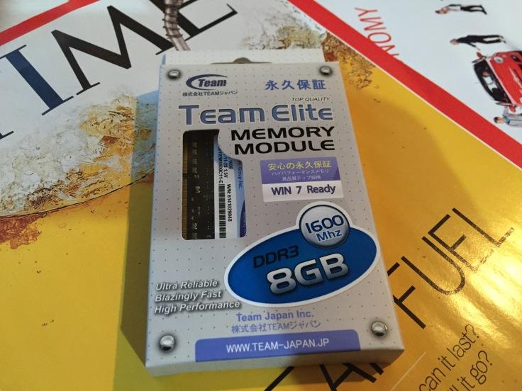 今回購入し使用したTeam社のメモリ1600Mhz