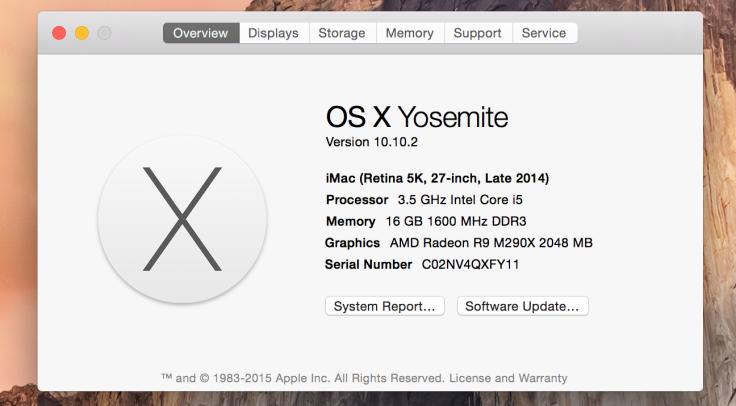 今回のメモリ増設前のiMacの状況