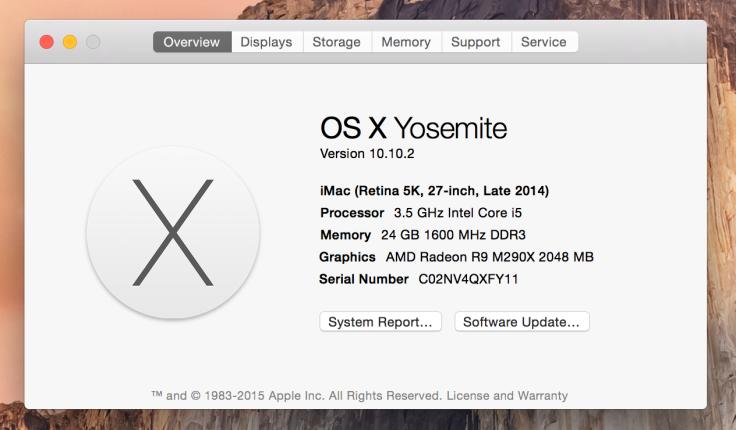 今回のメモリ増設後のiMacの状況。メモリは16Gから24Gになってるね